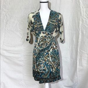 Cristinalove deep v paisley dress brown/teal M